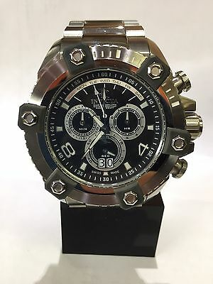 Mens Invicta Reserve Arsenal Watch Full Size 63mm Silver Swiss Chronograph