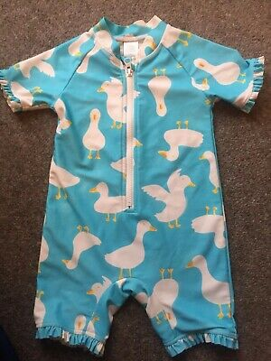 Next 18-24 Mths Blue/White Duck Birds All In One Swimsuit Costume JH1