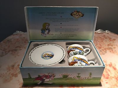 Paul Cardew Alice in Wonderland Tea Party Set 2 Tea Cups and 2 Saucer Plates new