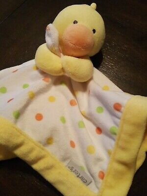 NWT Carters Yellow Duck Polka Dot Security Blanket Soft Baby Lovey Toy 67044