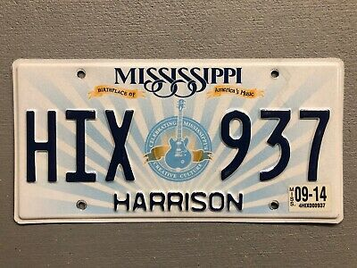 Mississippi License Plate Guitar 🎸 Music 🎵 Random Letters/ Numbers Mint!!!