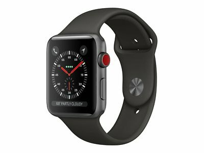 Apple Watch Gen 3 Series 3 Cell 38mm Space Gray Aluminum - Gray Sport Band