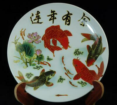 collection hand-made famille-rose porcelain hand painted goldfish plate c01
