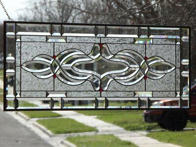 """•Rubies Sparkle •HUGE Beveled Stained Glass Window Panel • 38 1/2"""" x 14 3/8"""""""