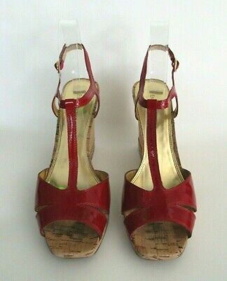 a2cd92080f5 ENZO ANGIOLINI RED patent leather open peep toe pumps ruffle size 10 ...