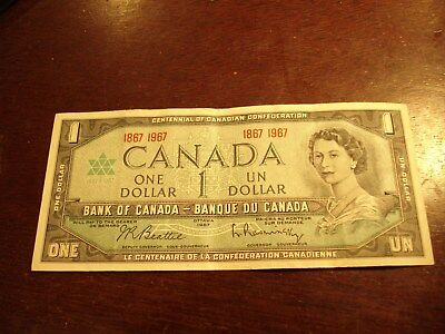 1967 - Bank of Canada $1 note - one dollar bill - 1867-1967