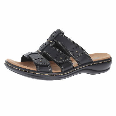fba58502a9e CLARKS LEISA SPRING Black Leather Womens Slide Size 7.5M -  49.29 ...