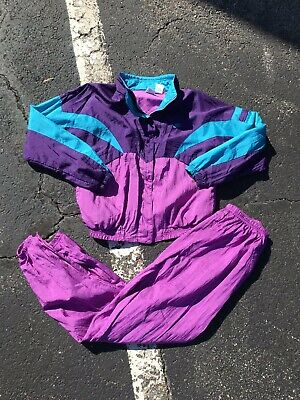 Vintage Nike Windbreaker 90's Track Suit Women Size L Jacket Pant Teal Purple N8