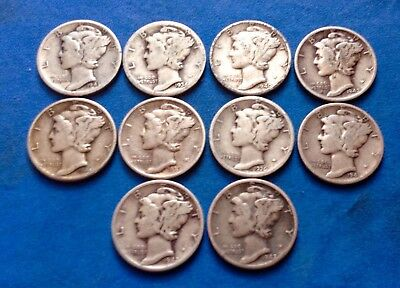 Mercury Dimes - Lot of 10, Mixed  Dates 90% Silver Mercury Dimes Free Shipping