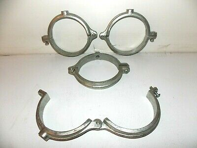 "Lot of 4 Large Galvanized split ring 4.5"" inch pipe hanger clamps #44"
