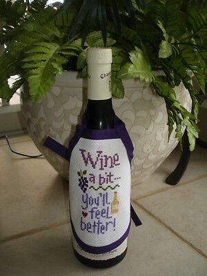 Handmade Cross-Stitched Wine Bottle or Soap Dispenser Apron - Dress Up a Gift!