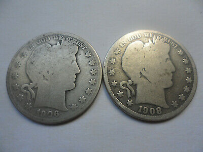 "1906-D & 1908-O Barber Half Dollar Coins (G & VG) on silver-copper "" Good Guys """
