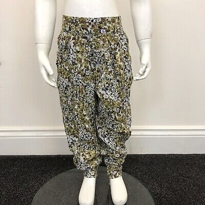 Next Girls Green Brown Beige Patterned Hareem Long Trousers Pants UK Age 8 Years