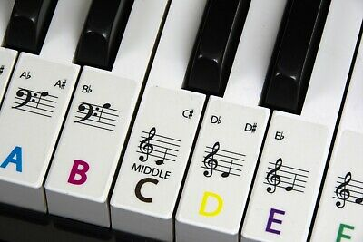 PIANO stickers COLOUR CODED Frosted Keyboard / Piano Stickers up to 88 Keys