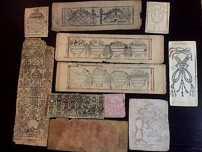 11 Antique Tantric Buddhist Woodcuts Ritual Objects Auspicious Substances