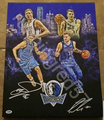 ebe56d2a LUKA DONCIC signed DIRK 16x20 Stretched Canvas DALLAS MAVERICKS CUSTOM PROOF