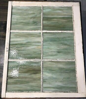 "Antique Vintage Green Slag Glass Window Stained Glass Jadite Color 28""x32""x2"