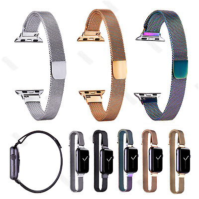 For Apple watch Iwatch 38 40 42 44mm Strap Slim Narrow Milanese Loop Watch Band