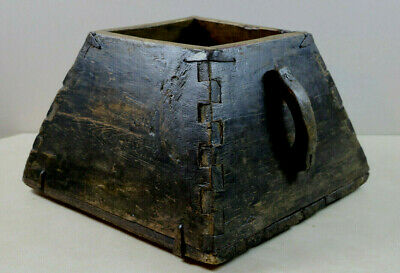 OLD  Antique Primitive Wooden Rice / Grain Gathering Dovetail Box Bucket Holder