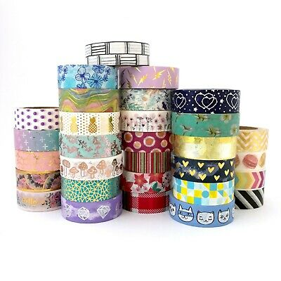 Washi Tape Multi-Coloured Gold Foil - Bulk lot 15mm x 10mm