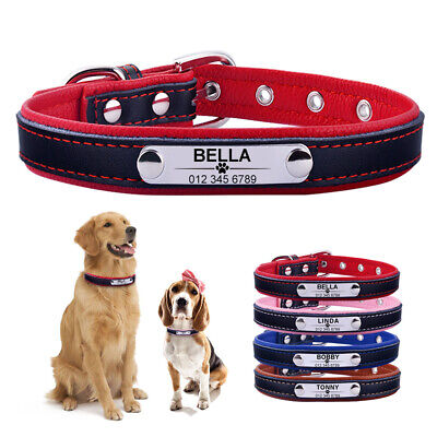 Soft Leather Personalised Dog Collar for Pet Small Large Puppy Cat Chihuahua S L