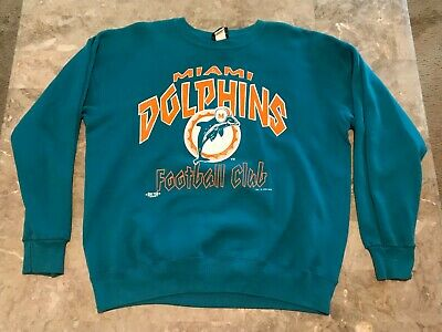 VINTAGE 90S MIAMI Dolphins NFL Spell Out Teal Pullover SweatShirt  supplier