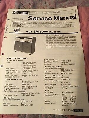 Clarion singing machine service manual sm-5000 mw-2000s