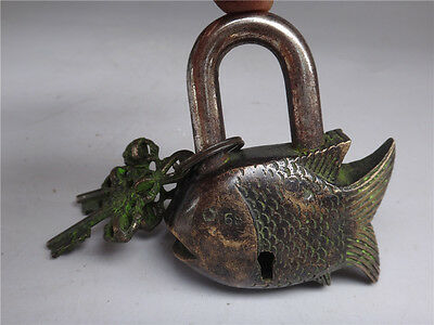 """3.6""""L Rare Old collection Tibet Features Mantra Shape of a fish Copper lock"""