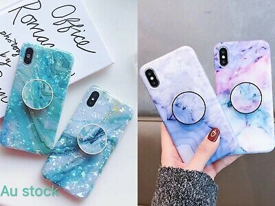 Colorful Marble Put Up Holder Soft Case Cover For Apple iPhone 6 7 8 X XR MAX