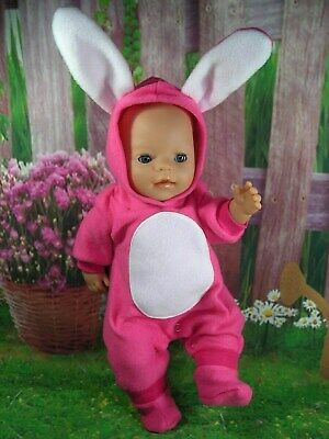 "Dolls clothes for 17"" Baby Born doll~HOT PINK EASTER BUNNY RABBIT COSTUME~BOOTS"