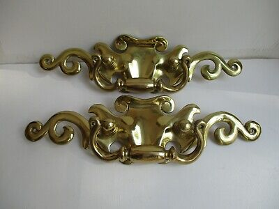 """2 EXTRA LARGE Heavy BRASS Handles Drawer Pulls Chippendale Style 11 1/2"""" x3 1/4"""""""
