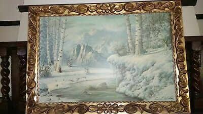 Frank Kecskes - Winter Landscape painting (framed)