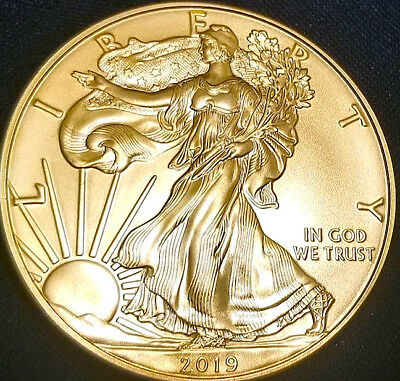 NEW  2019 American Silver Eagle , 24k Gold Gilded  1oz .999 pure Silver Coin F1