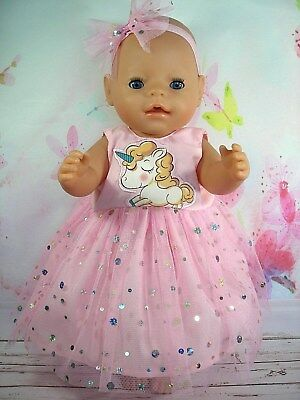 "Dolls clothes for 17"" Baby Born doll~PINK~ BABY UNICORN SPARKLY DRESS~HAIR BOW"