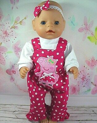 "Dolls clothes for 17"" Baby Born doll~PEPPA PIG PINK~ SPOT OVERALLS~TOP~HAIR BOW"