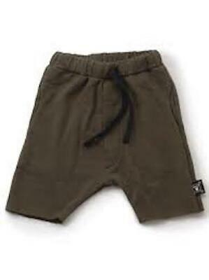 Nununu Size 8-9Y Khaki Unisex Low Crotch Shorts 100% Cotton