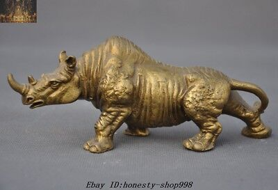 """6"""" Collect Chinese Fengshui Brass Copper Animal Rhinoceros Rhino Bull Statue"""