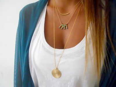 Popular Women Chunky Alloy Gold Chain Pendant Necklace Elegant Charm Jewelry New