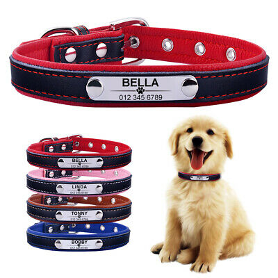 Soft Leather Personalised Dog Collar Pet Cat Custom Name ID Tag Puppy Kitten S-L