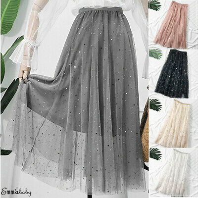 0d94431209 Women High Waist Long Tulle Skirt Ladies Net Pleated Shiny Sequin A-Line  Dress