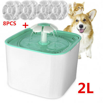 2Liter Pet Water Fountain,automatic Electric Pet Drinking Fountain & 8PC Filter