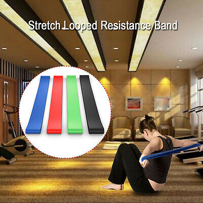 Set of 4 Yoga Resistance Bands Fitness Latex Loops Pilates Training Workout - US