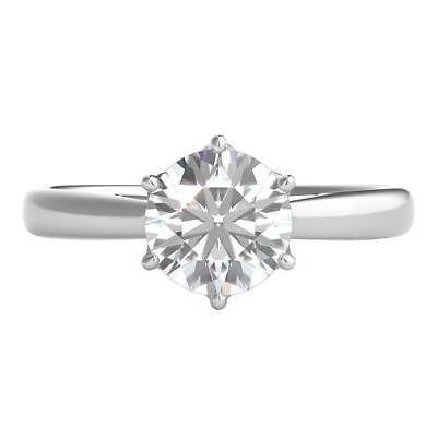 1.50 Ct Round Cut Diamond 14K White Gold Over solitaire Engagement Wedding Ring