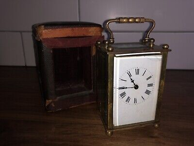 ANTIQUE R&Co FRENCH BRASS CARRIAGE CLOCK IN TRAVEL CASE
