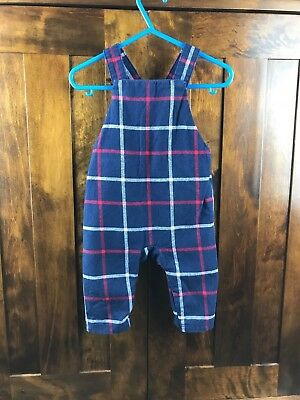 Mothercare Baby Boy or Girl Flannel Blue Red White Checked Dungarees 3-6 Months