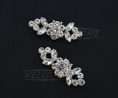 2Pcs White Crystal Diamante Charm Rhinestone Shoe Clips For Wedding Bridal