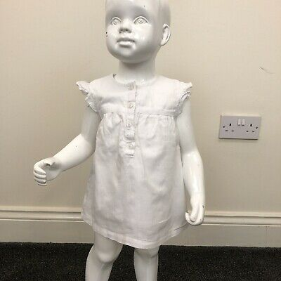 Mamas & Papas Baby Girls White Frill Sleeve Loose Blouse Top UK 12-18 Months