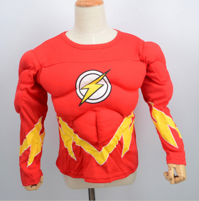 Child The Flash Muscle Chest Outfit Fancy Dress Costume Superheroes Kids Boys