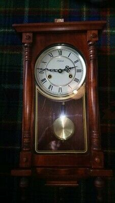 Highlands SMALL WOODEN LONG CASE WALL CLOCK Spares or Repairs