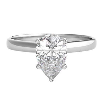 Pear Cut Diamond 1.25 Ct 14K White Gold Over Solitaire Engagement Wedding Ring